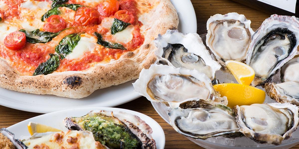 牡蠣のピザ